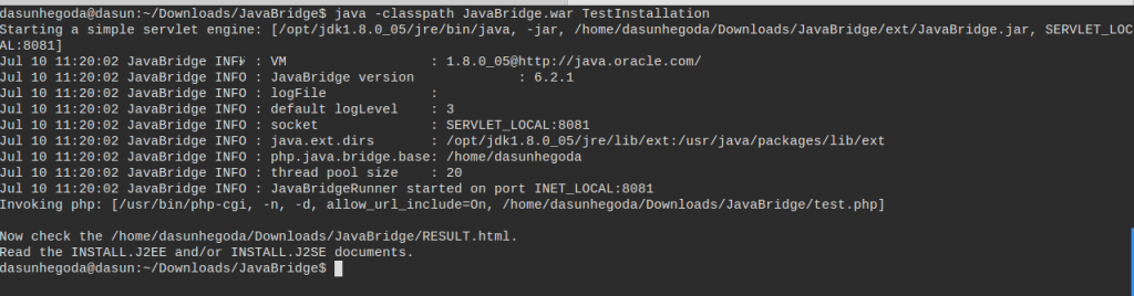 PHP/Java BridgeTest Installation