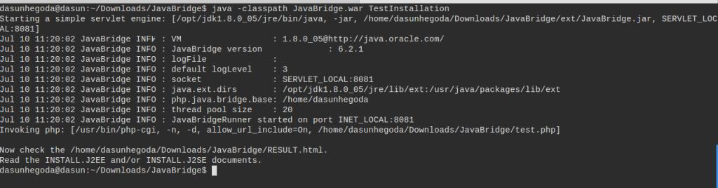 PHP/Java BridgeTest Installation