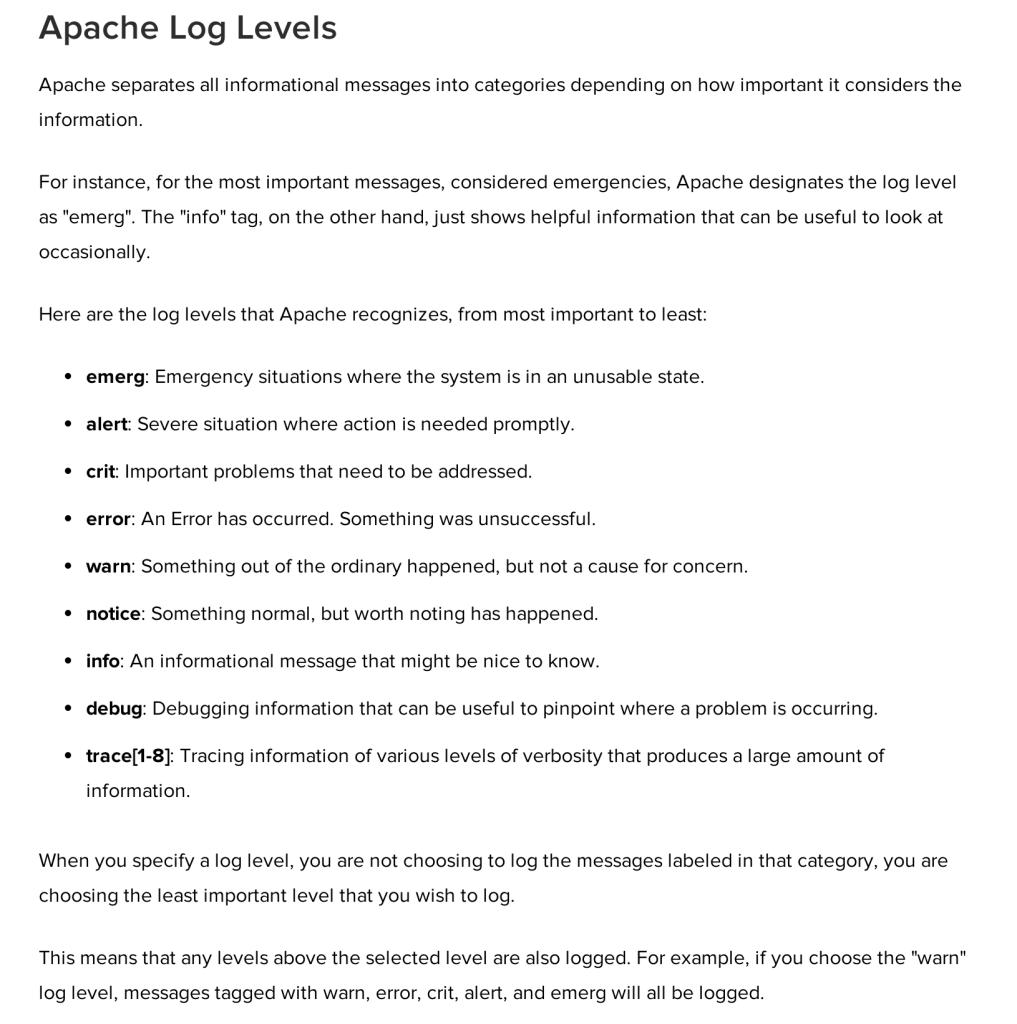 Apache Log Levels