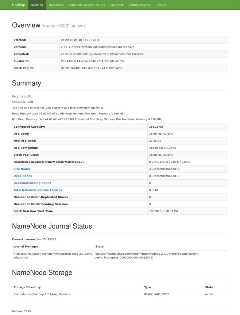 web UI of the NameNode