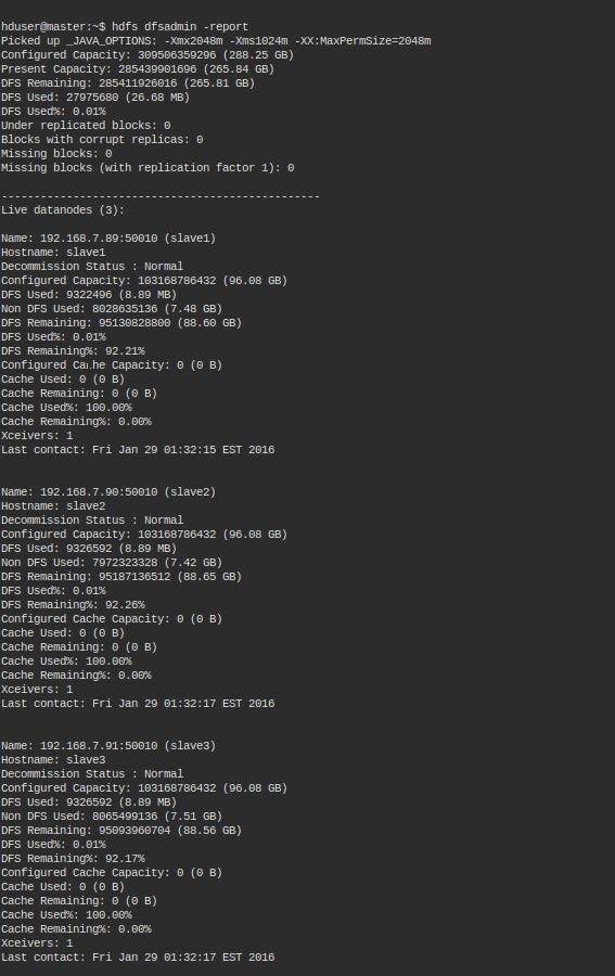 Hadoop hdfs dfsadmin report